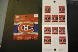Canada 2339 Montreal Canadiens Hockey Jersey Centenary Cpl Booklet Pane Of 10 MNH Self Adhesive 2009 A04s - Cuadernillos Completos/libretas Completas