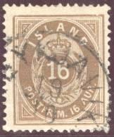 Island 1876 Mi#9A Gestempelt Zähnung 14/13.5 16 Aura Braun - Islande