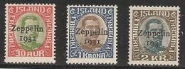 ISLANDIA 1931 - Yvert #A9/11 - MLH * (Aéreos) - Islandia