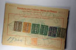 Brasil Vale Postal Nacional, Postal Payment, 1919 Mixed Stamps - Brieven En Documenten