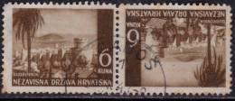 Croatia 1943 WWII Postmark Gabos On Tete-beche Stamps - Croatia