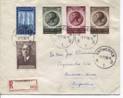 TP Surtaxe 991/993 Reine Elisabeth-990-997 S/L.recommandée C.Antwerpen Du 03/11/1956 V.Buenos-Aires AP385 - Lettres & Documents