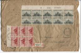 TP Surtaxe 473(10)-474(10)-475(10) S/L.recommandée C.Bruxelles 9/11/1938 V.Zurich Suisse AP387 - Briefe U. Dokumente