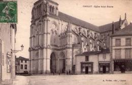 Cholet..animée..Eglise St-Pierre..commerces..avec Pharmacie - Cholet