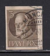 Bavaria Used Scott #118 3pf King Ludwig III, Brown - Bavière