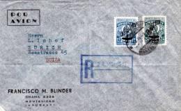 URUGUAY 1949, Reco-LP-Brief, 2 Fach Frankierung Gelaufen Von Uruguay - Montevideo > Zürich - Schweiz - Uruguay