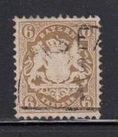 Bavaria Used Scott #25 Or #25a 6kr Coat Of Arms, Bister - Bavière