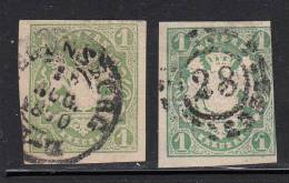 Bavaria Used Scott #15, #15a 1kr Coat Of Arms, Yellow Green And Dark Blue Green - Bavière