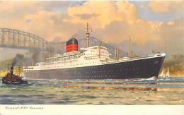 Themes Div- Ref F113- Illustrateur - Cunard Rms * Saxonia *- Carte Bon Etat - - Paquebots