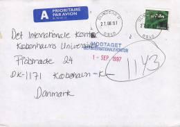 Norway A Prioritaire Airmail Par Avion Label BLINDERN H (Oslo) 1997 Cover Brief To Denmark Flower Blume - Briefe U. Dokumente