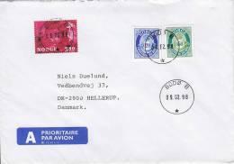 Norway A Prioritaire Airmail Par Avion Label BODØ B., 1998 Cover Brief To Denmark Flower Rose Blume - Briefe U. Dokumente