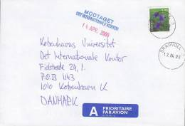 Norway A Prioritaire Airmail Par Avion Label Deluxe DRAGVOLL 2000 Cover Brief To Denmark Flower Blume - Briefe U. Dokumente