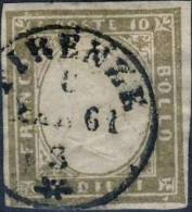 Sardaigne : Yvert 11 - Sassone 14Cc, 10c Gris Bistre Clair, Obl 'Firenze 1861'. Expertisé Par Mr Tavano. - Sardegna