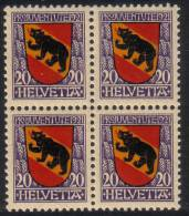 Zu J  19 PRO JUVENTUTE 1921 Bloc De 4 ** / MNH SBK 40,- Voir Description - Neufs