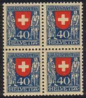 Zu J  20 PRO JUVENTUTE 1921 Bloc De 4 ** / MNH SBK 140,- à 25 % - Neufs