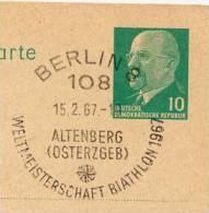 Championship BIATHLON ALTENBERG Berlin 1967 Auf DDR P71 Postkarte ZUDRUCK BÖTTNER #2 - Ski