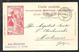 SCHWEIZ / SWITSERLAND Postal Stationary /Postkarte Mi P 33 Sent 1900 From FISCHENTHAL To Mislenice Galicien Now Poland - Entiers Postaux