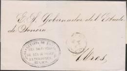 G)1861 MEXICO, OFFICIAL MEXICO, BLACK SEAL SECRETARIA DE RELACIONES EXTERIORES, TO EL GOBERNADOR DEL ESTADO DE SONORA,XF - Mexico
