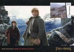 """Entier Postal De Nlle Zélande Sur CP De 2004 Avec Illust. """"Le Seigneur Des Anneaux"""" Au Verso Timbre Oblitété PJ 07/07/12 - Cinema"""
