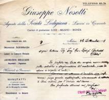 1911  FATTURA MILANO  - SOCIETA' LODIGIANA LAVORI IN CEMENTO - Italia