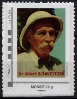 FRANCE 2013 Timbre Personnalisé MonTimbraMoi Albert SCHWEITZER Nobel Paix (tarif 20 G Monde) - Albert Schweitzer