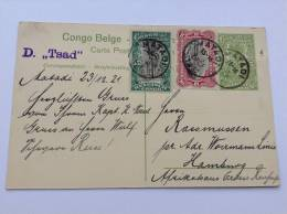 "Congo Belge, 1921 Entier Postal 5c  Mol ""RECOLTE DU RIZ"", Ecrite A Bord A Bord De La Woermann Linie ""D TSAD"", R !"