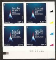 2011 - N° 598**  -  G8  G20 - Coin Daté - Adhésifs (autocollants)