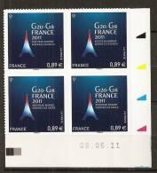 2011 - N° 598** - G20 G8 - Coin Daté - Adhésifs (autocollants)