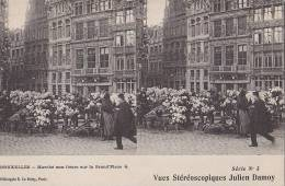 Belgique - Bruxelles - Marché Aux Fleurs - Carte Stereo - Markten