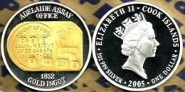 COOK ISLANDS $1 AUSTRALIA GOLD INGOT FRONT QEII HEAD BACK 2005 PROOF 1Oz .999 SILVER READ DESCRIPTION CAREFULLY !!! - Cook