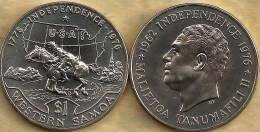 SAMOA $1 TALA USA INDEPENDENCE MAP HORSE FRONT EMBLEM BACK 1976 UNC KM? READ DESCRIPTION CAREFULLY !!!