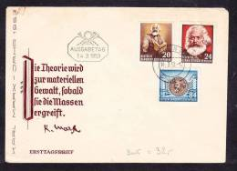 E-EU-10 ENVELOPE KARK MARX JAHR DDR AUSGABETAG  3 PISES 14.03.1953