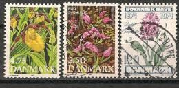 AF002 Danemark 3 Stamps Used-oblit.-gestempeld - Orchidées