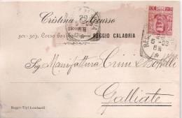 Reggio Calabria 1903 - Ditta Cristina Accurso Tessuti  - Per Ditta Crini E Bottelli Di Galliate - 1900-44 Victor Emmanuel III