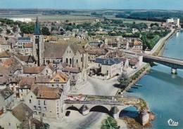 CPSM PONT SUR YONNE VUE AERIENNE LE VIEUX PONT CIM - Pont Sur Yonne