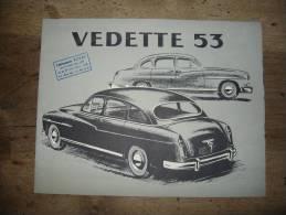 Ancien Dépliant Publicitaire Automobile Voiture Ford Vedette 53 Garage Veyet Boulevard Vivier Merle CPA Photo Traction - Pubblicitari