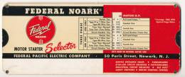 FEDERAL NOARK MOTOR STARTER SELECTOR 1952 - Scienze & Tecnica