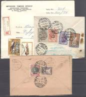 Greece Grèce Griechenland Grecia 3 Old Registered Letters, R Covers Year 1936 1942 1974 - Autres