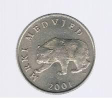 CROATIA - CROACIA -  5 Kuna 2001  KM11 - Brown Bear  Animal Coin - Croacia