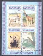 Tanzanie Bloc-feuillet YT N°47 Animaux En Danger D´extinction Neuf ** - Tanzania (1964-...)