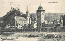 Avr13 100 : Oberwesel  -  Gruss Vom Rhein  -  Ruine Schönburg  -  Liebfrauenkirche - Oberwesel