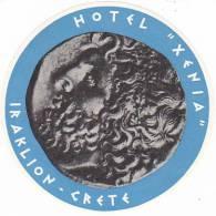 GREECE IRAKLION HOTEL XENIA VINTAGE LUGGAGE LABEL