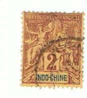 Indochine, 2c Yvert 4, Oblitéré - Gebraucht