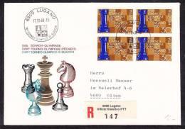E-EU-118 ENVELOPE XVIITOURNO OLYMPIQUE D'ECHECS LUGANO 17.10.1968 SUISSE