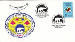 FIRST ROMANIAN EXPEDITION IN CANADIAN ARCTIC, SPECIAL COVER, BEARS, OURS, 1992, ROMANIA - Ours
