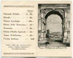 CALENDARIO ANNO 1915 ROMA IL COLOSSEO GIORNALE D'ITALIA PICCOLO NUOVA ANTOLOGIA ARMA FEDELISSIMA CUCINA ITALIANA - Calendari