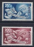 Sarre -Admission Au Conseil De L´Europe YT 277+ PA 13* / Saarland- Aufnahme In Den Europarat Mi.Nr. 297-298* - Nuovi