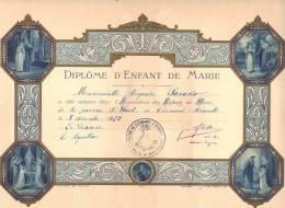 Diplome D´ ENFANT De MARIE - Clermont L´ Hérault 1929 Format 22 X 31 Cm - Religion Belle Gravure - Religion & Esotérisme