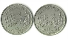 2 Pièces De 100 Francs COCHET 1958 Et 1958B - Francia