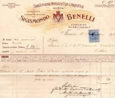 1916 FATTURA FIRENZE FABBRICA DI ETICHETTE A RILIEVO STABILIMENTO ARTISTICO TIPO LITOGRAFICO - Italia